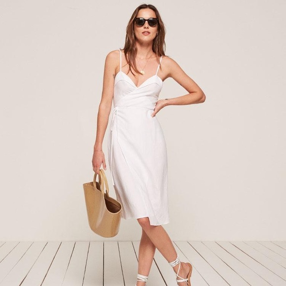 c5de70bede White Linen Resort Wrap Dress Reformation Large
